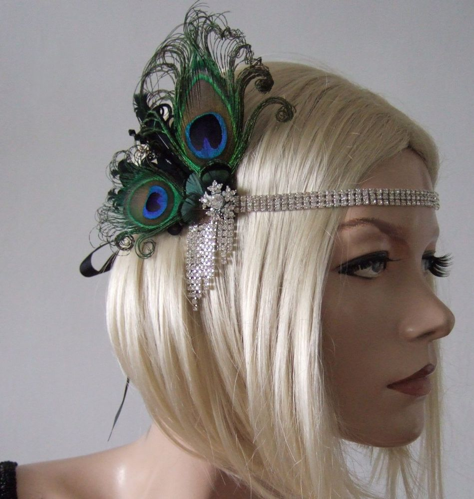 "Black Peacock Goose Feathers Crystal Headband 1920's Art Deco Gatsby Flapper ""Cally"""